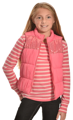 Derek Heart Girls' Pink Puffy Vest Long Sleeve Tee Combo , Pink, hi-res