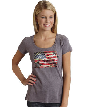 Roper Dirt Road American Flag Print T-Shirt, Grey, hi-res