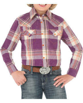 Rock 47 by Wrangler Girls' Acid Wash Plaid Long Sleeve Shirt, Purple, hi-res