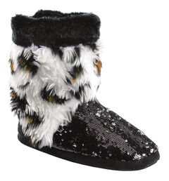 Blazin Roxx Youth Girls' Plush Leopard Print Sequin Bootie Slippers, Black, hi-res