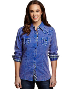 Cowgirl Up Women's Blue Stonewash Embroidered Western Shirt, , hi-res
