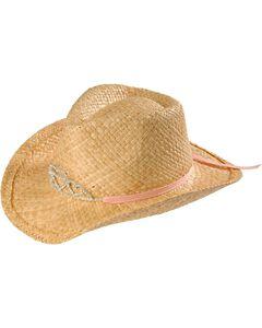 Girls' Rhinestone Hearts Tiara Raffia Cowboy Hat, , hi-res