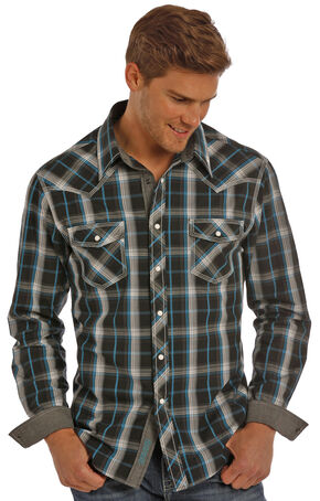 Rock & Roll Cowboy Men's Black Plaid Shirt , Black, hi-res