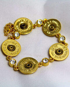 SouthLife Supply Women's Shotshell Link Bracelet in Traditional Gold with Crystals, , hi-res