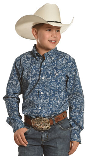 Ariat Boys' Teal Desmont Print Long Sleeve Shirt , Teal, hi-res