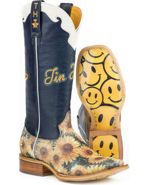 Tin Haul Women's Sunny Disposition Cowgirl Boots - Square Toe, Multi, hi-res