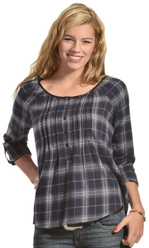 Red Ranch Blue Plaid Pleather Trim Pleated Flannel Top , Blue Plaid, hi-res
