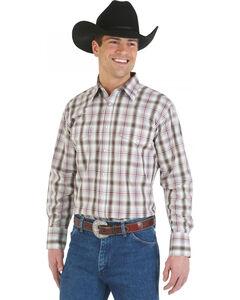 Wrangler Wrinkle Resist Grey and Khaki Plaid Western Shirt, , hi-res