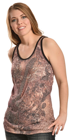 Liberty Wear Women's Leopard Guitar Tank Top - Plus, Brown, hi-res