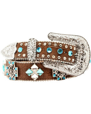 Blazin Roxx Faux Croc Cross Concho Belt, Brown, hi-res