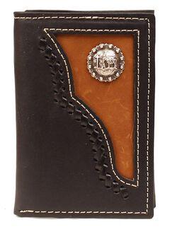 Fancy Inlay & Cowboy Prayer Concho Tri-Fold Wallet, , hi-res