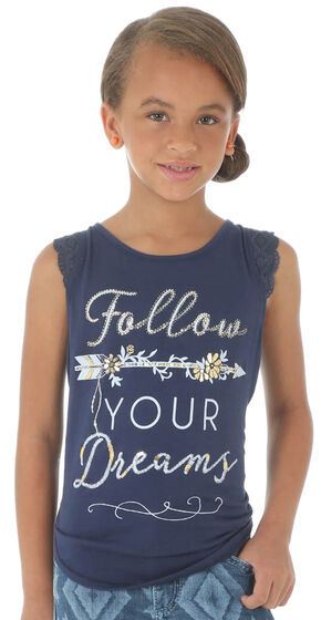 Wrangler Girls' Follow Your Dreams Top, Navy, hi-res