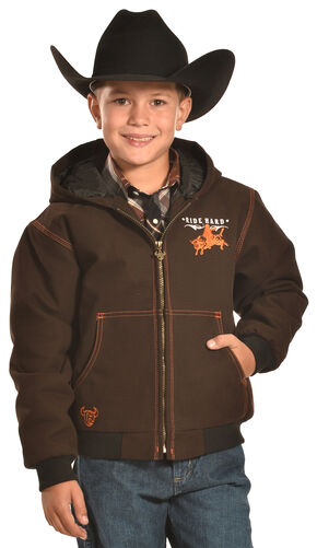 Cowboy Hardware Boys' Brown Ride hard Canvas Hooded Jacket, Brown, hi-res
