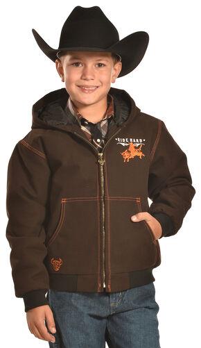 Cowboy Hardware Boys' Brown Ride hard Canvas Hooded Jacket, Brown, hi-res