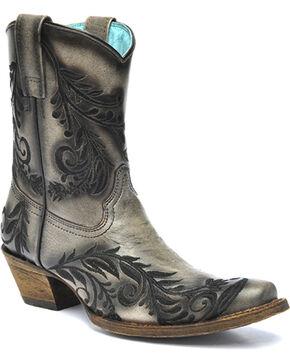 Corral Vintage Black Burnished Embroidered Side Short Cowgirl Boots - Square Toe , Black, hi-res