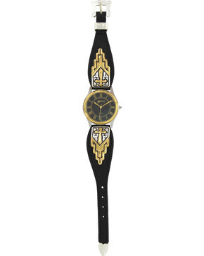 Montana Silversmiths Two-Tone Black Leather Cross Watch, Multi, hi-res