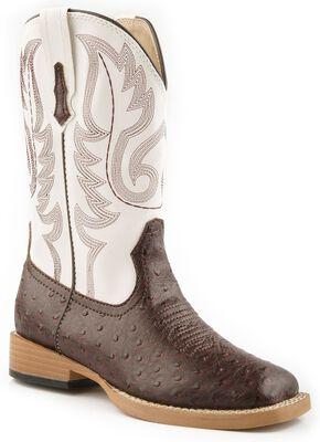 Roper Boys' Faux Ostrich Print Cowboy Boots, Brown, hi-res
