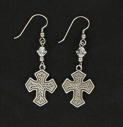 Lightning Ridge Fancy Engraved Cross Earrings, , hi-res