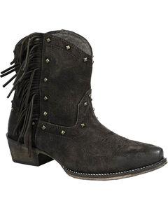 Roper Women's Black Fringe Short Boots - Snip Toe, , hi-res