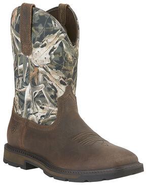 Ariat Groundbreaker Camo Work Boots - Steel Toe , Camouflage, hi-res