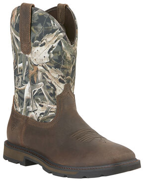Ariat Groundbreaker Camo Work Boots - Square Toe , Camouflage, hi-res