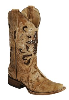 Corral Studded Cross Inlay Cowgirl Boots - Square Toe, , hi-res