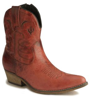 Dingo Moon & Cactus Zipper Ankle Boots, Red, hi-res