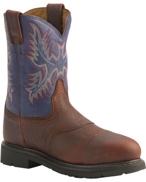 Ariat Sierra Western Work Boots - Steel Toe, Redwood, hi-res