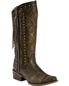Corral Distressed Aztec Studded Cowgirl Boots - Round Toe, , hi-res