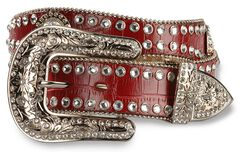 Blazin Roxx Red Croc Print Concho Bling Belt, , hi-res