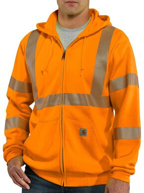Carhartt High-Visibilty Zip-Front Class 3 Sweatshirt, Orange, hi-res