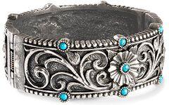 Montana Silversmiths Floral & Faux Turquoise Bracelet, , hi-res
