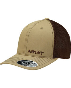 Ariat Men's Tan Offset Text Baseball Cap , , hi-res