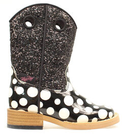 Blazin Roxx Toddler Girls' Zip Pearl Polka Dot Glitter Boots - Round Toe, Black, hi-res