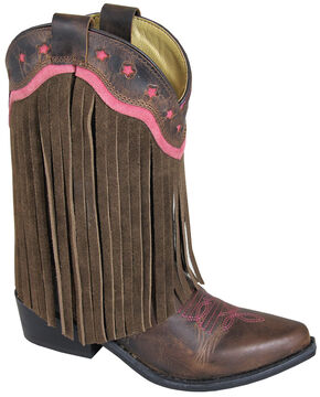 Smoky Mountain Youth Girls' Helena Fringe Western Boots - Medium Toe, Brown, hi-res