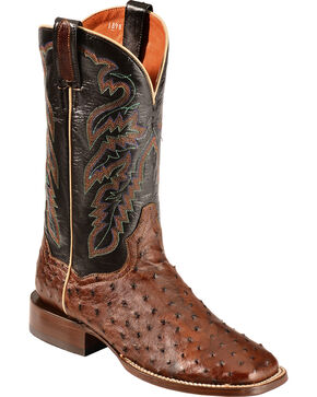Dan Post Chandler Full Quill Ostrich Cowboy Boots - Square Toe, Tobacco, hi-res