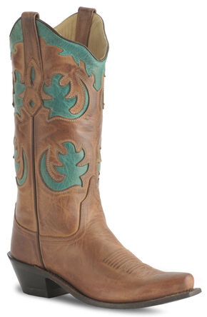 Old West Barnwood Vintage Cowgirl Boot - Snip Toe, Brown, hi-res