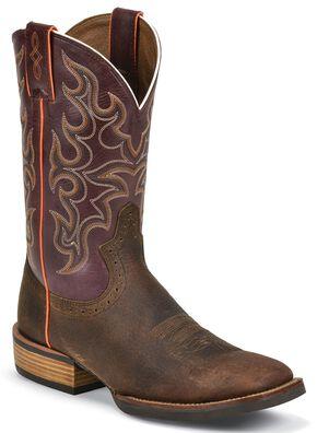 Justin Silver Cattleman Cowboy Boots - Square Toe, Copper, hi-res