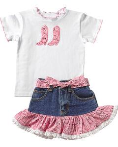 Kiddie Korral Cowgirl Boots Bandana Skirt Set - 2-6, , hi-res