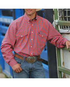 Cinch Men's Long Sleeve Flap Pocket Shirt, Coral, hi-res