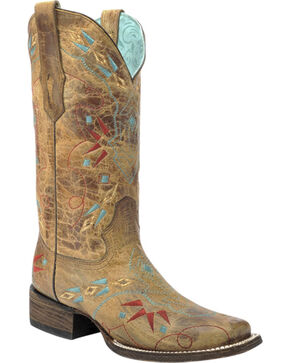Corral Vintage Saddle Embroidered Cowgirl Boots - Square Toe, Sand, hi-res