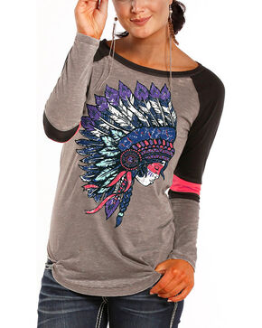 Rock & Roll Cowgirl Headdress Varsity Long Sleeve T-Shirt, Grey, hi-res