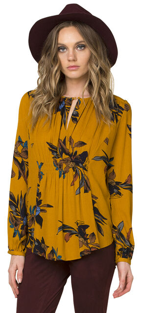 Miss Me Women's Mustard Yellow Floral Soiree Peasant Top , Mustard, hi-res