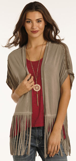 Rock & Roll Cowgirl Women's Brown Open Front Fringe Cardigan, Brown, hi-res