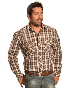 Crazy Cowboy Men's Tan Plaid Heavy Stitch Western Shirt , , hi-res