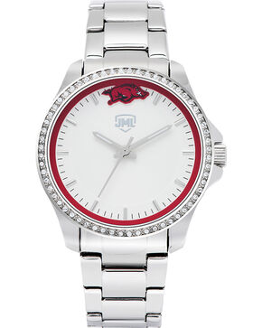 Jack Mason Women's Arkansas Glitz Sport Watch , Silver, hi-res