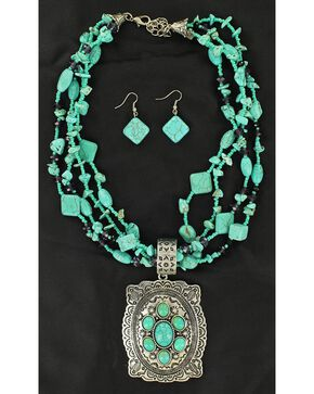 Blazin Roxx Concho Pendant Faux Turquoise Strand Necklace & Earrings Set, Turquoise, hi-res