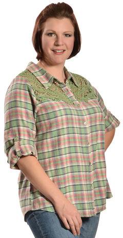 Red Ranch Women's Long Sleeve Crochet Flannel Green Plaid Shirt - Plus, , hi-res