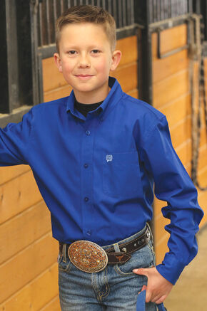 Cinch Boy's Royal Blue Long Sleeve Western Shirt, Royal, hi-res