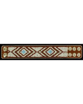 Blazin Roxx Beaded Tribal Cuff Bracelet, Brown, hi-res